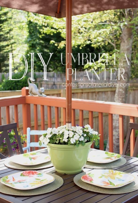 diy umbrella planter confessions of a