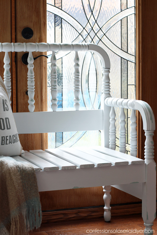 how to turn a spindle headboard into a bench | confessions of a