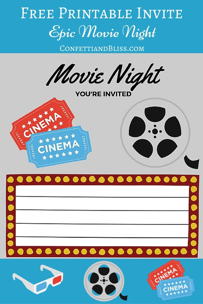 free printables printable movie night
