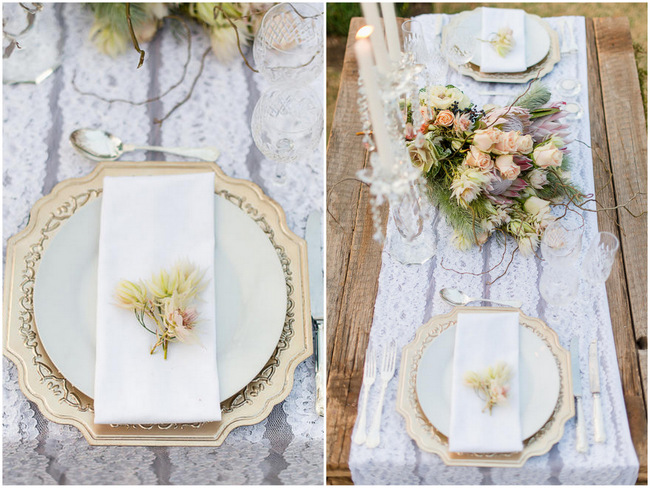 Rustic Elegance Gold table setting // Rustic Fall Wedding Decor Ideas // Lightburst Photography // Flowers: Dear Love Events // Rosemary Hill Venue