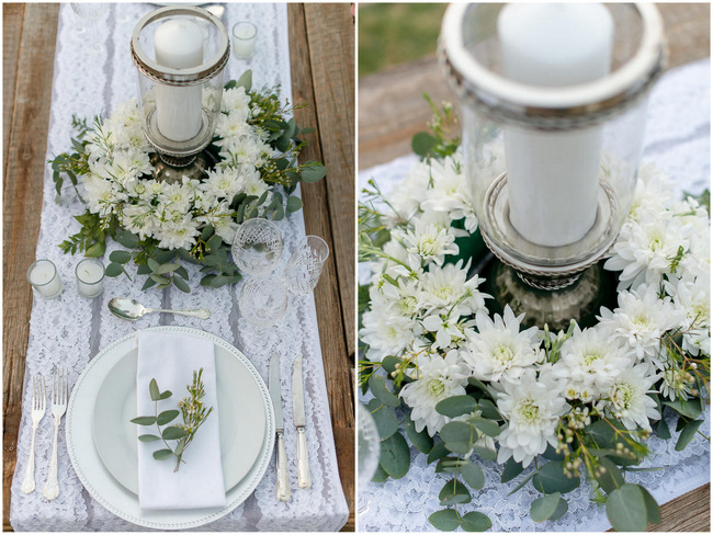 White and Silver table setting // Rustic Fall Wedding Ideas // Lightburst Photography // Flowers: Dear Love Events // Rosemary Hill Venue