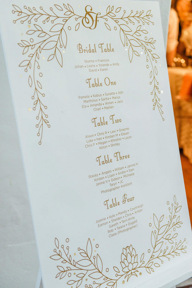 Gold And White Seating Chart Langkloof Roses Wedding Cape Town Claire Thomson