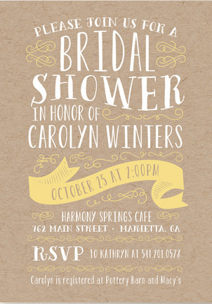 Designer Rustic Bridal Shower Invitations