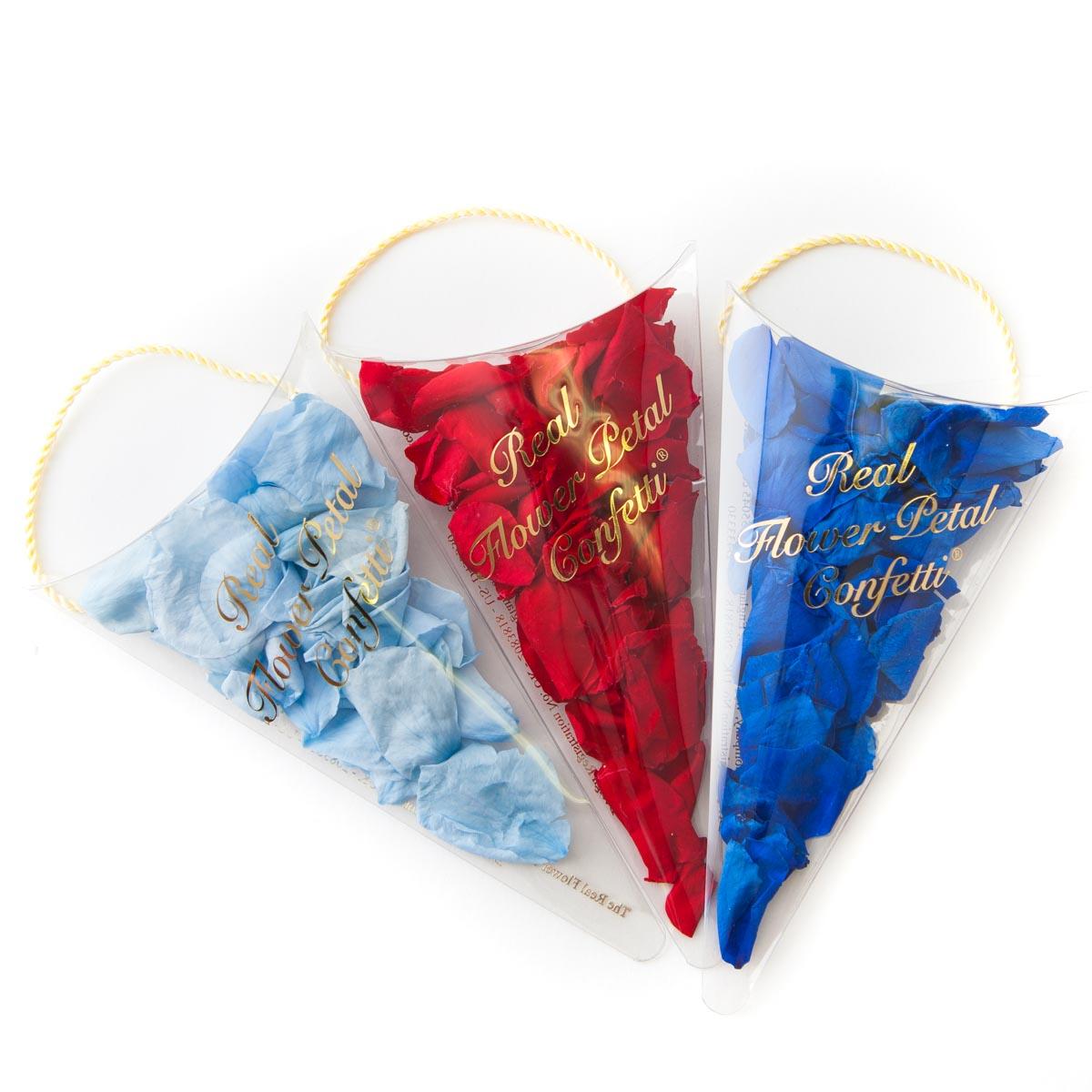 coloured rose petal sachets