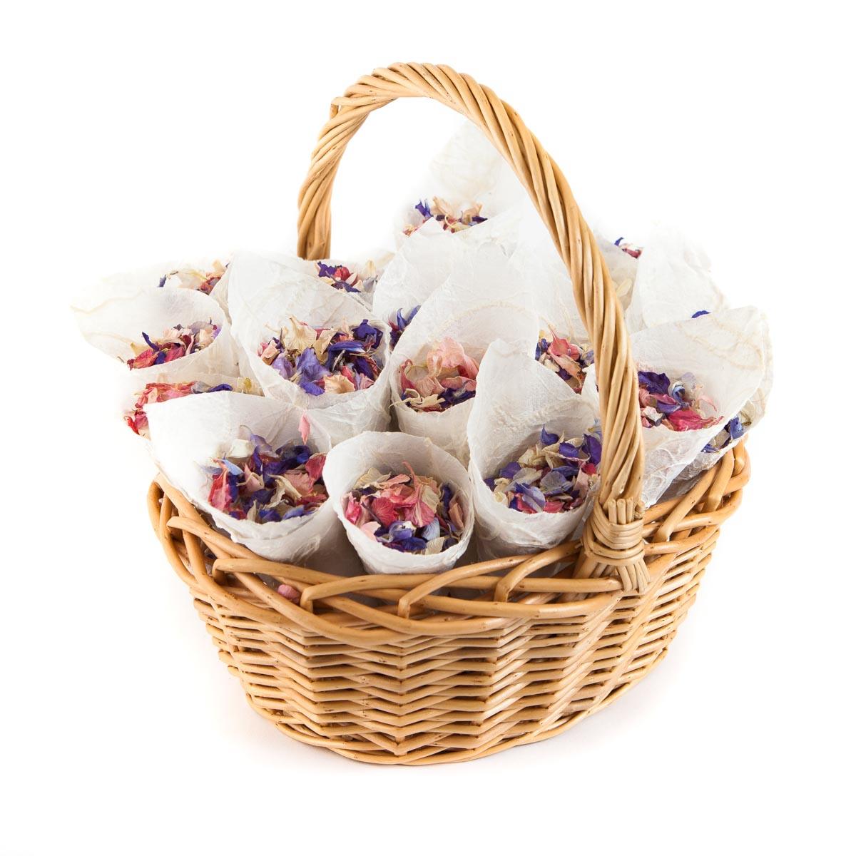 Flower girl baskets - Classic Basket - Rainbow Delphinium Petal confetti basket