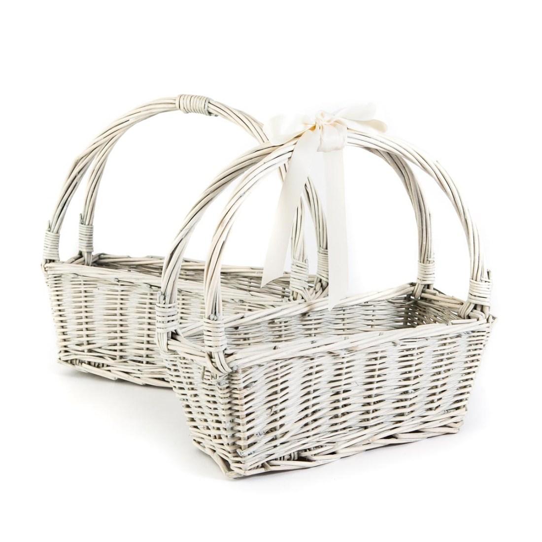 small white basket - confetti basket