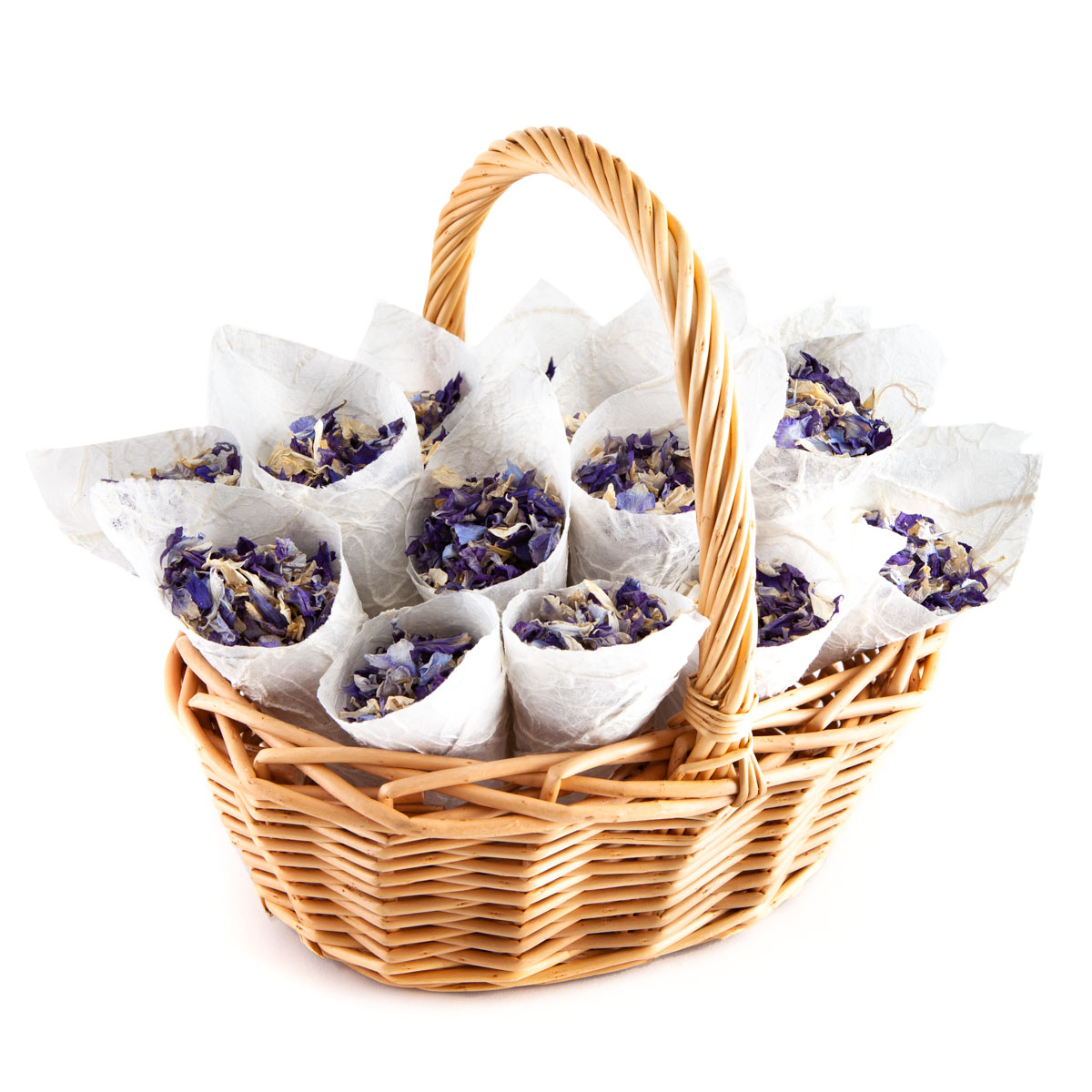Biodegradable Confetti - Violet Mix Delphiniums - Flower Girl Basket with Confetti Cones