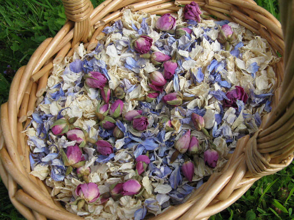 Flower Girl Baskets - a bespoke mix of delphinium petals and rose buds