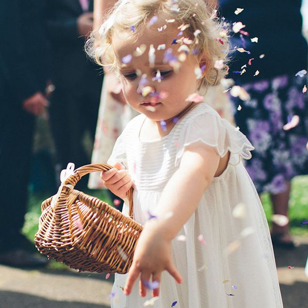 Flower girl baskets - scattering delphinium etals