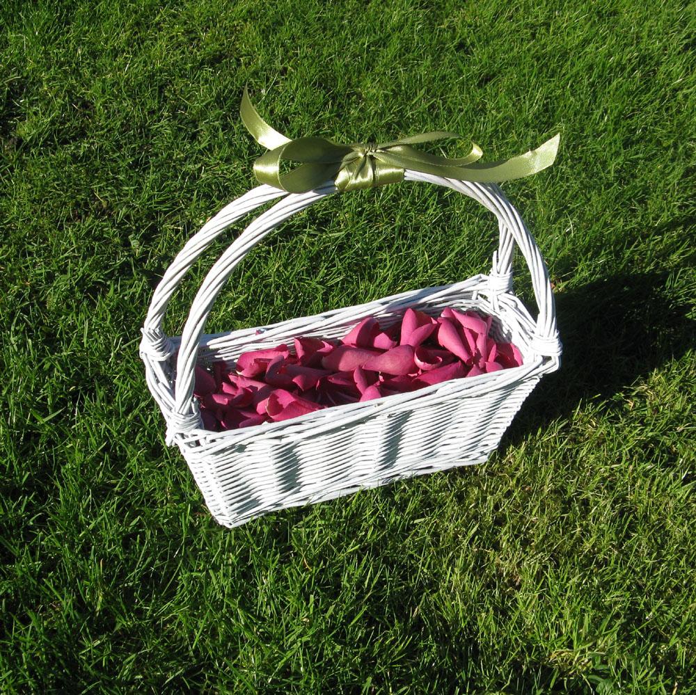 Flower Girl Baskets - cerise large natural rose petals