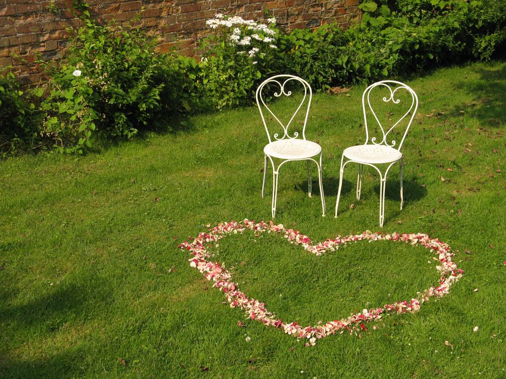 Flower petals - wedding aisles and petal pathways: Rose petal outdoor ceremony spot