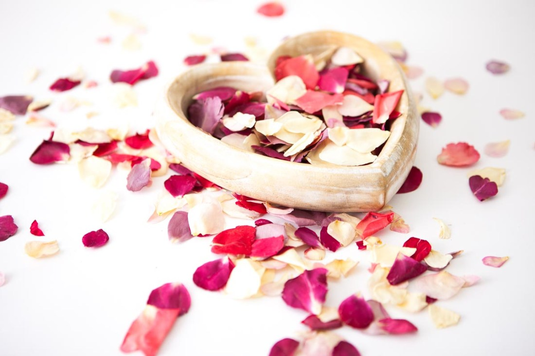 Petal Confetti - Small Natural Rose Petal heart