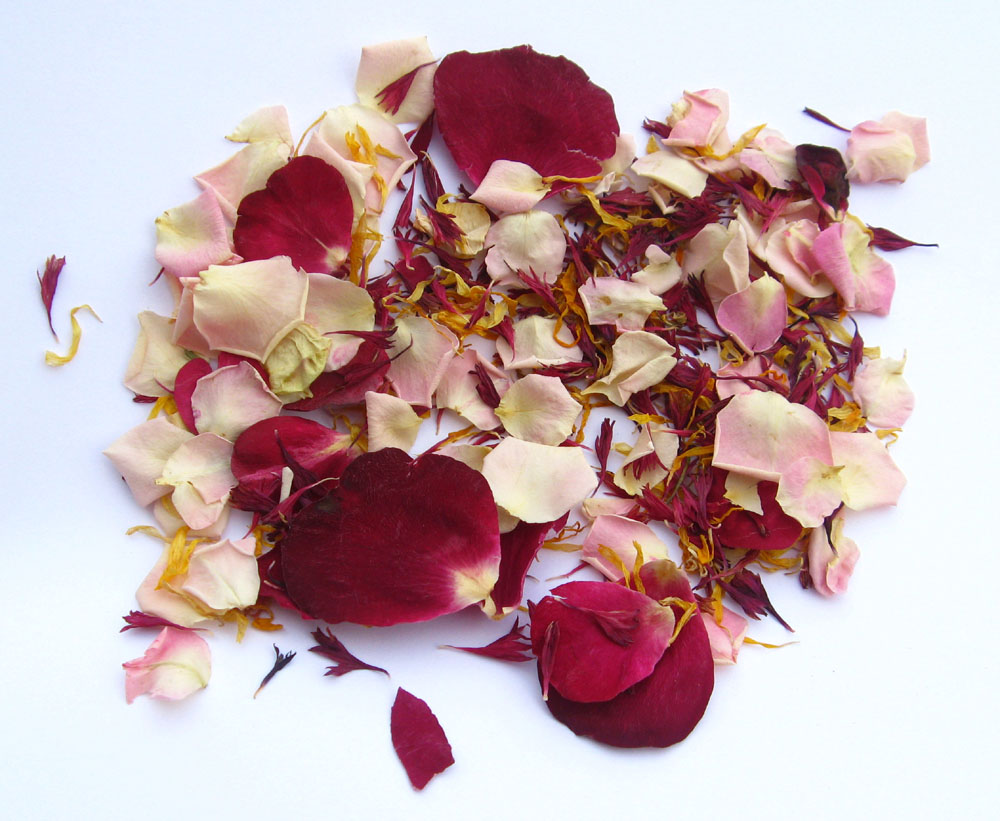 Petal Confetti - Claret and Marigold Wildflower Petals with Baby Pink , Merlot and Bright Red Small Natural Rose Petals