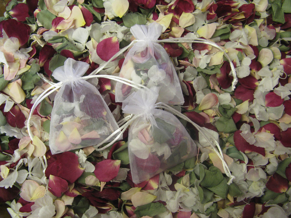 Petal Confetti - White Hydrangeas, Green Tea Coloured Rose Petals, Merlot and Blushing Pink Small Natural Rose Petals