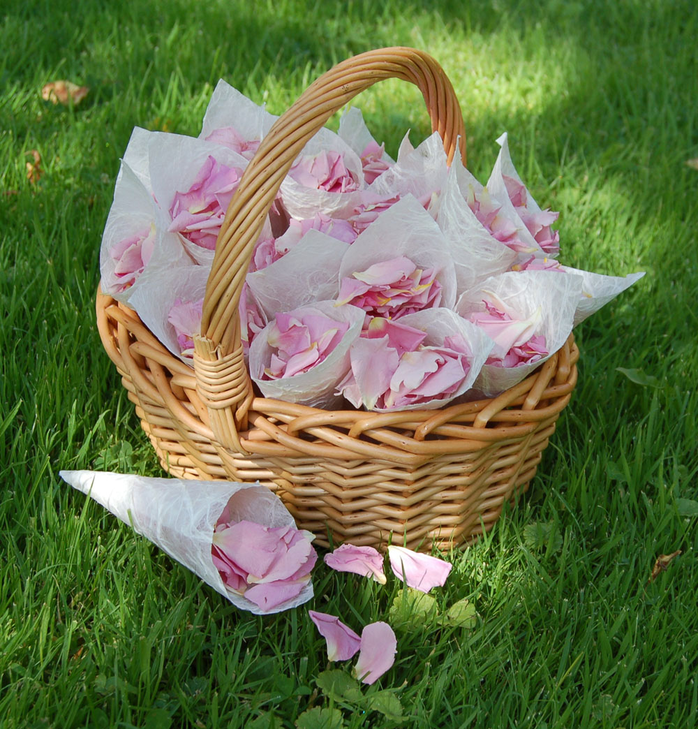 Petal Confetti - Small Natural Rose Petals - Blushing Pink Confetti Basket