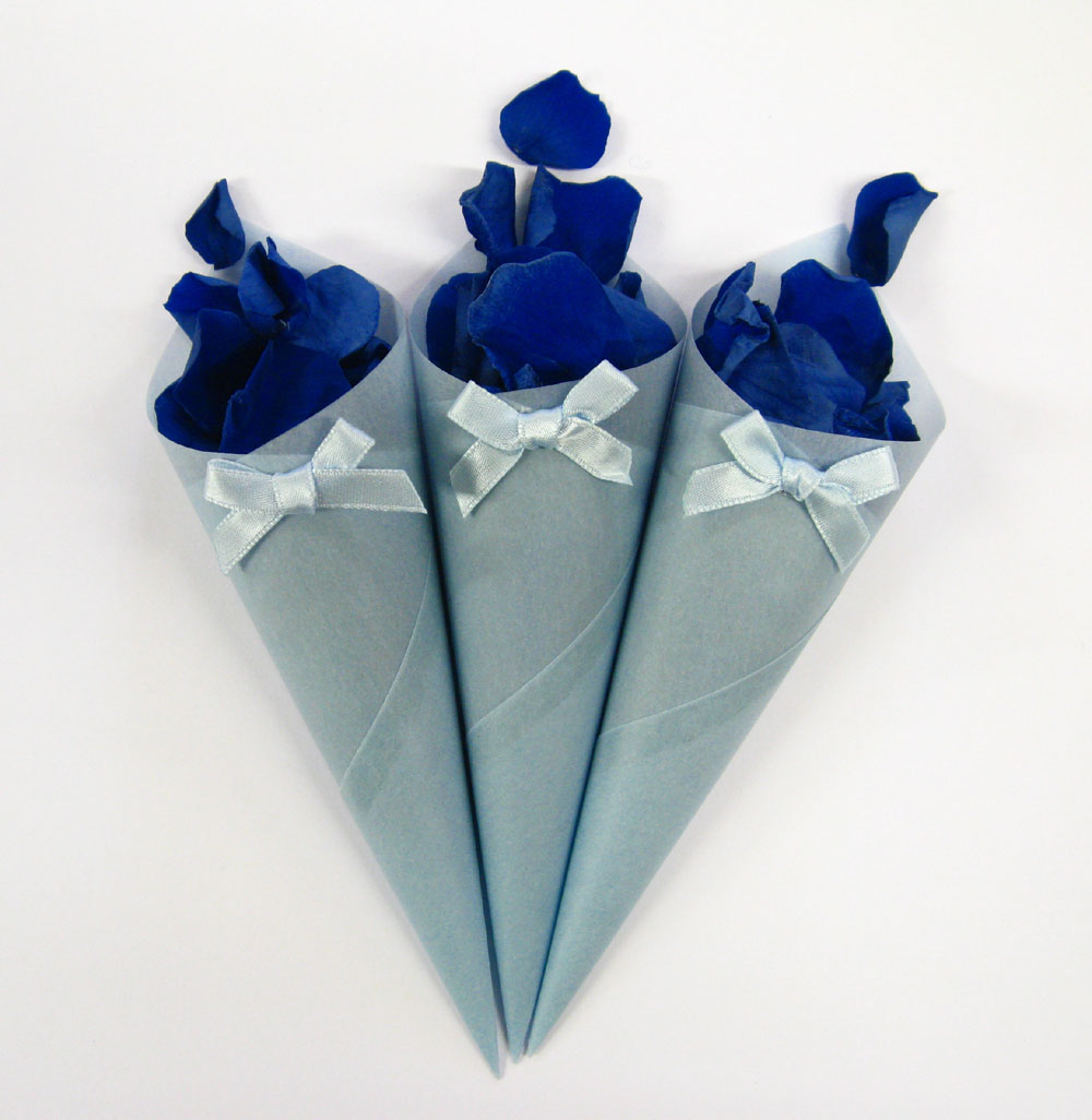 Petal Confetti - Blue Coloured Rose Petals in Blue Confetti Cones