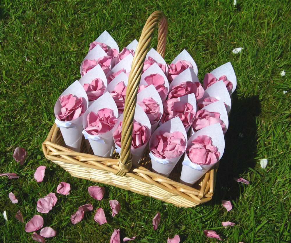 Petal Confetti - Cherry Blossom Coloured Rose Petal Basket