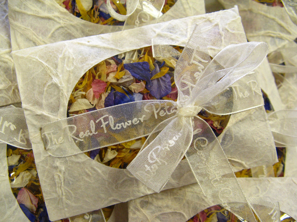 Petal Confetti - Delphiniums, Wildflowers and Lavender - Bespoke confetti envelope