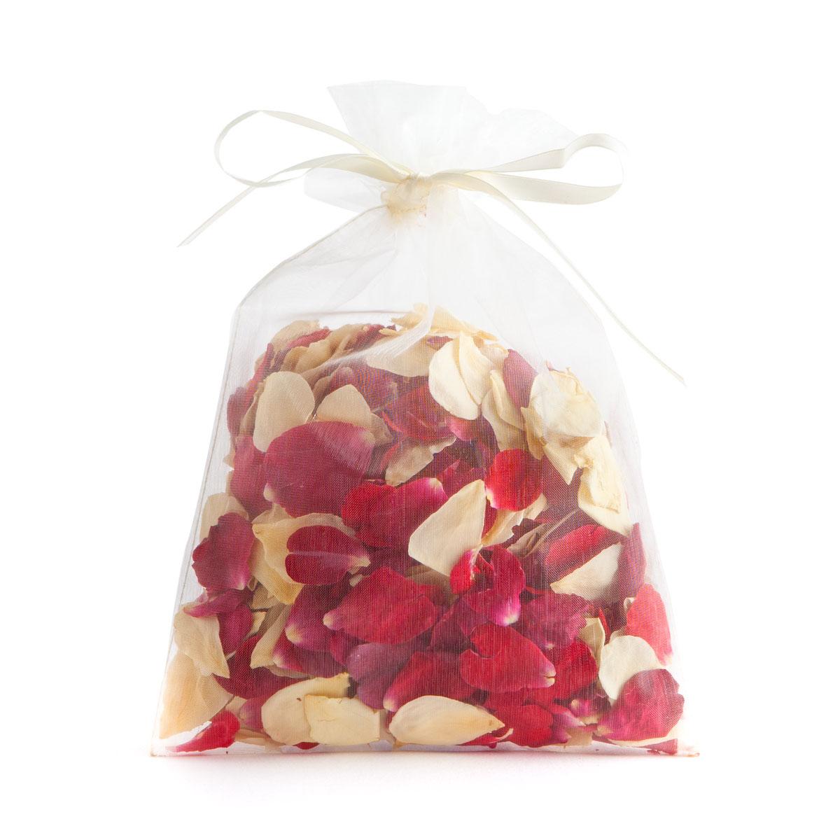 Red & Cream Rose Petals - 10 Handful Bag - Biodegradable Rose Petal Confetti - Real Flower Petal Confetti