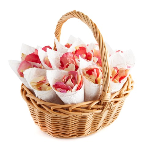 Confetti Cone Flower Girl Basket - Bright Pink Mix Rose Petals