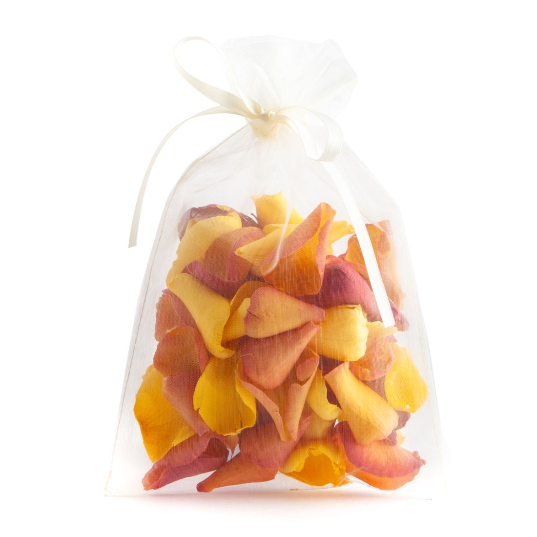 Biodegradable Confetti - Sunset, Yellow and Red Large Natural Rose Petals - 10 Handful Bag