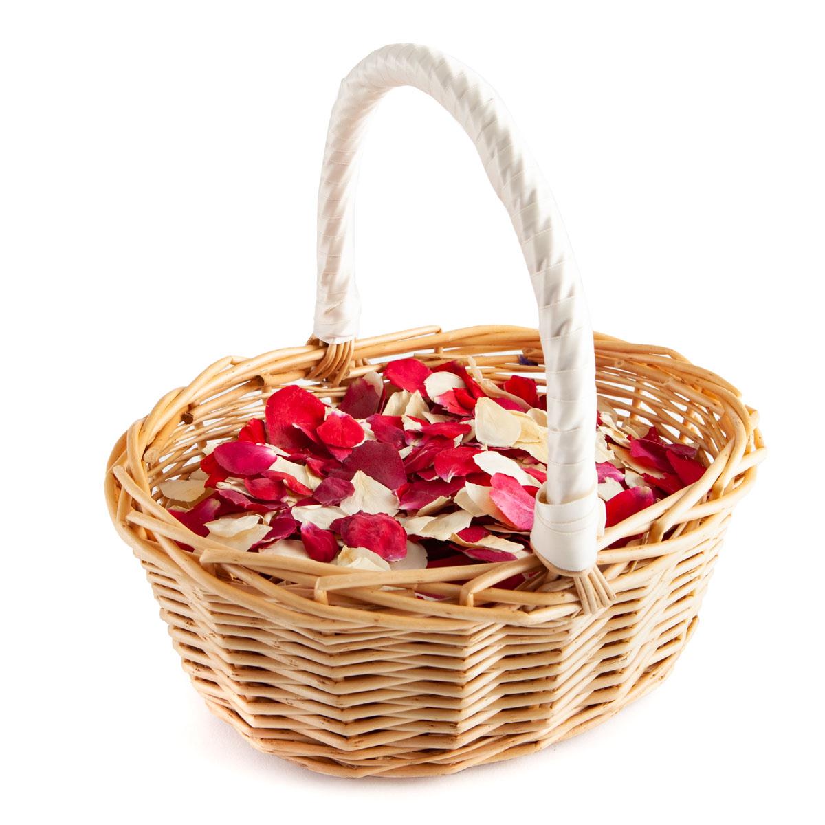 Red & Cream Rose Petals - Biodegradable Confetti - Real Flower Petal Confetti - Basket