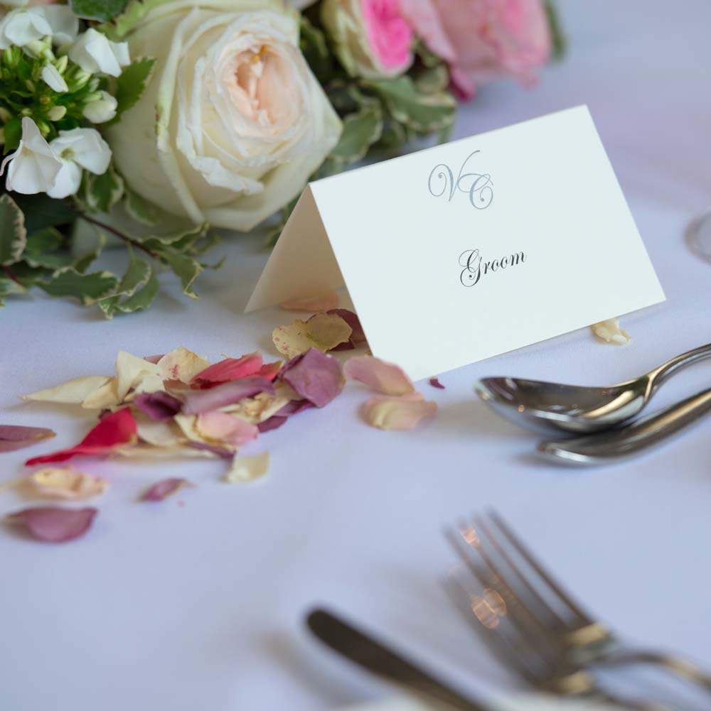 Small Natural Rose Petals at each place setting