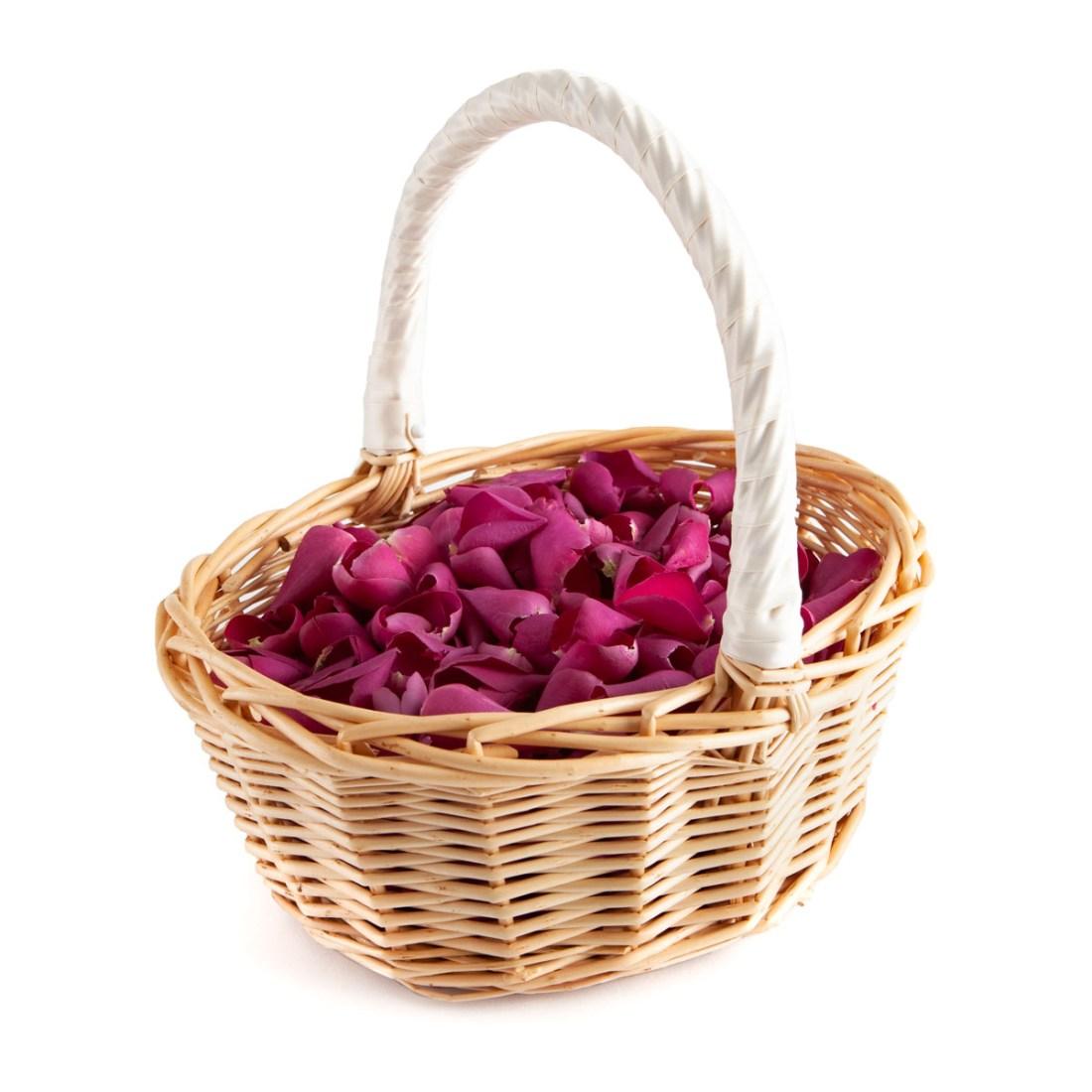 Basket of Cerise Large Natural Rose Petals