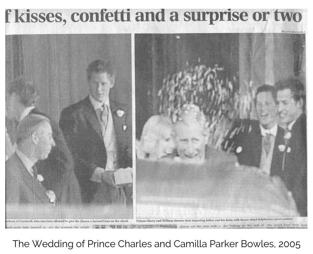 image of Prince Charles and Camilla's confetti moment