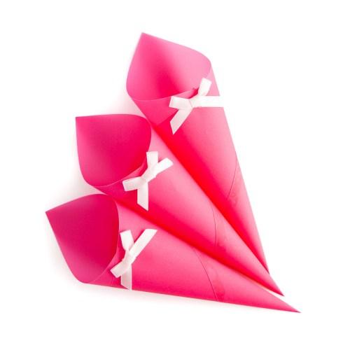 pink confetti cones