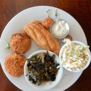fried fish, greens and slaw