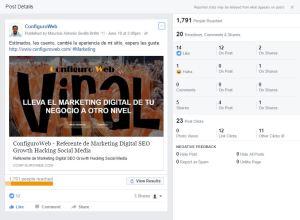 Engagement Publicacion en Facebook