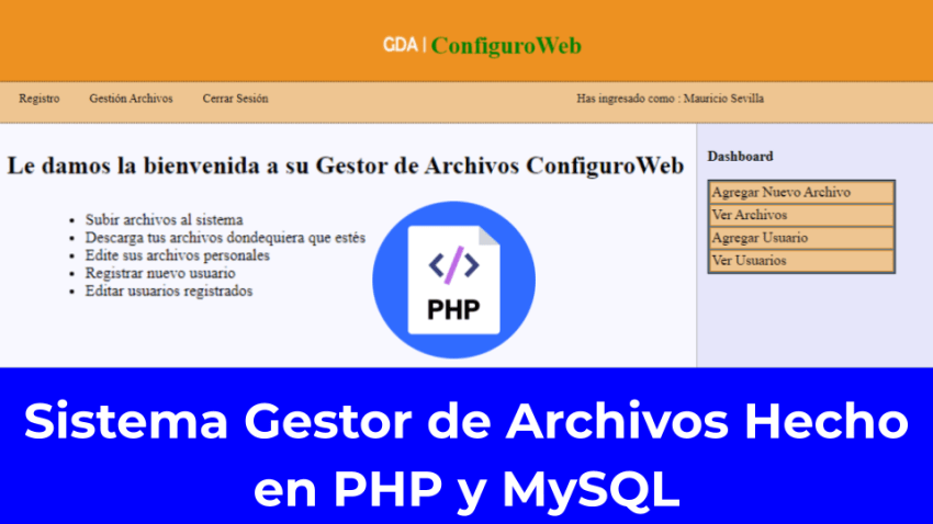 Sistema Gestor de Archivos Hecho en PHP y MySQL