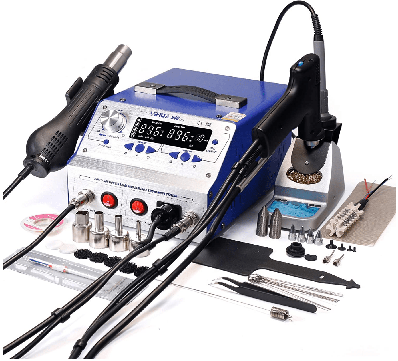 Details about  / 968A Professional SMD Digital Hot Air Rework Station with a Rework station