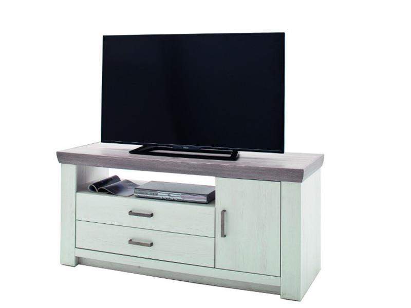 meuble tv en pin blanc et chene neslon l 144 x h 67 x p 55 cm pegane