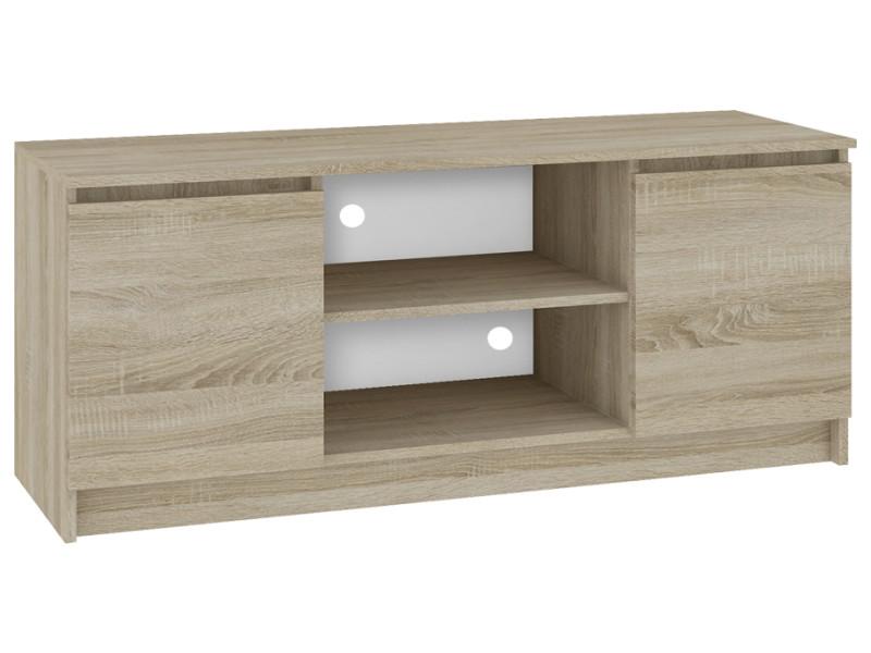 dusk meuble bas tv contemporain salon sejour 140x55x40 cm 2 niches 2 portes rangement materiel audio video gaming sonoma