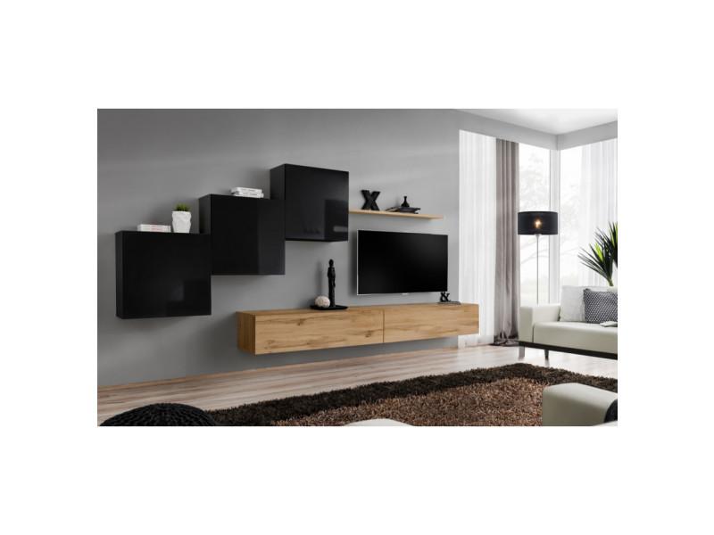 ensemble mural switch x 3 vitrines carrees 2 bancs tv 1 etagere bois et noir modele 2