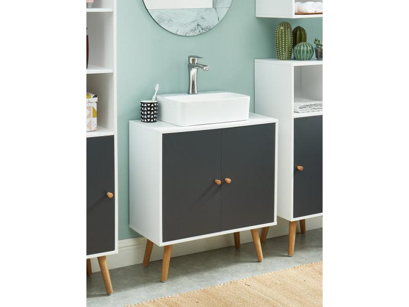 Meuble Sous Vasque Pour Salle De Bain Coloris Blanc Et Gris 60 X 29 5 X 65 Cm Vente De Meuble Et Rangement Conforama