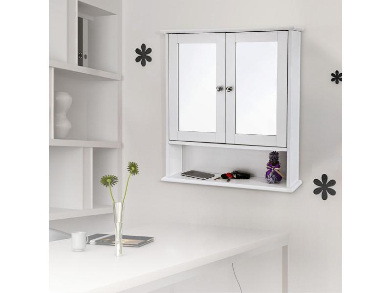 Armoire De Toilettes Murale De Vasagle Salle De Bains Blanc Avec Portes Et Miroirs Lhc002 Vente De Vasagle Conforama