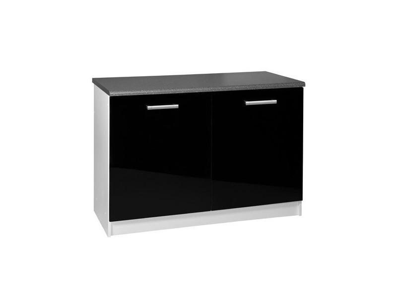 meuble de cuisine bas 2 portes 120 cm tara laque noir