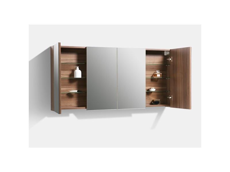 Armoire De Toilette Bloc Miroir Siena Largeur 144 Cm Noyer Vente De Salle De Bain Pretes A Emporter Conforama