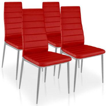 chaise de cuisine rouge conforama