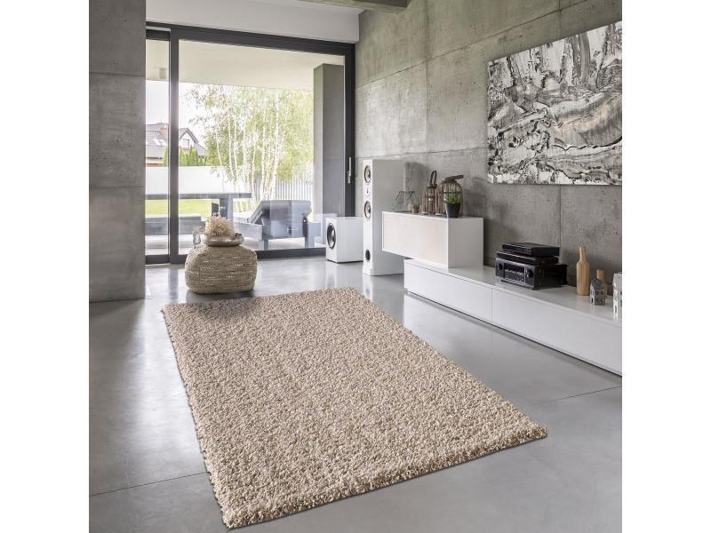 tapis shaggy poils long 160x230 cm rectangulaire shaggy simple beige salon adapte au chauffage par le sol