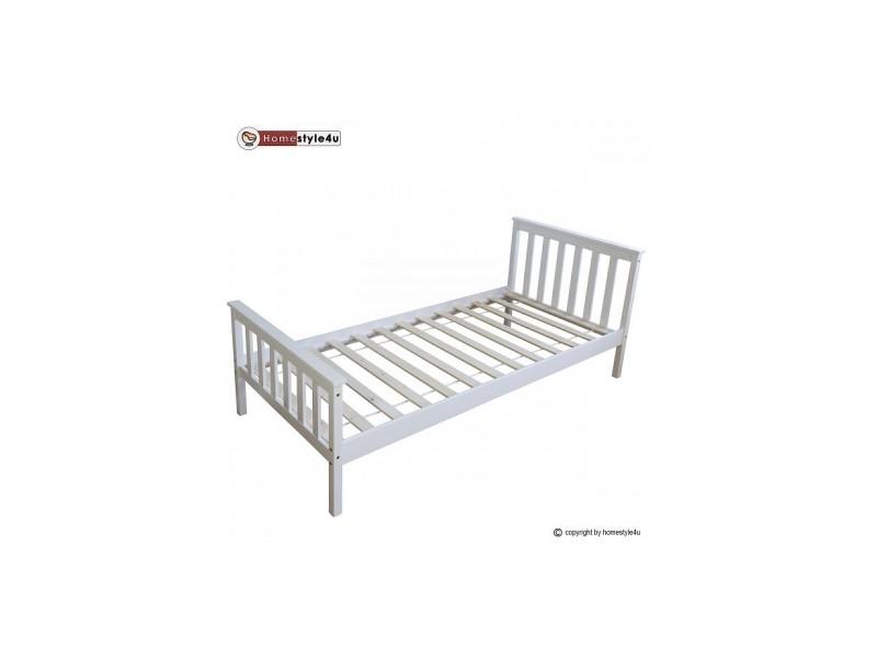 lit simple blanc 90x200 avec pied de lit