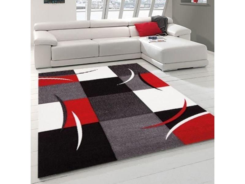 salon 120x170 cm rouge gris noir