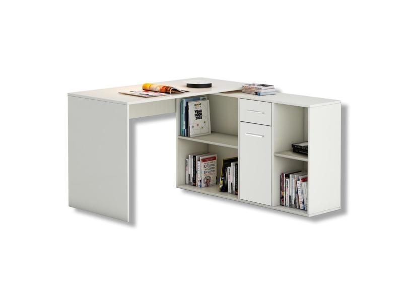 bureau d angle carmen table avec meuble de rangement integre et modulable avec 4 etageres 1 porte et 1 tiroir decor blanc mat
