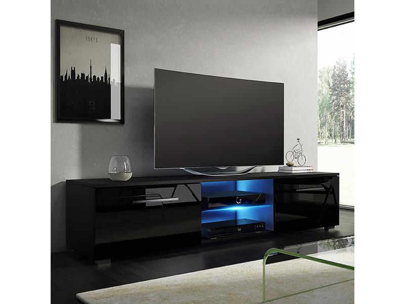 meuble tv banc tv tenus 140 cm noir mat noir brillant avec led