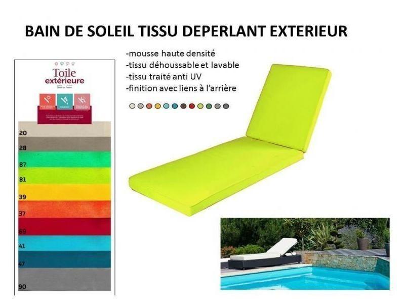 coussin pour bain de soleil 180 x 60 x 12 tissu deperlant outdoor