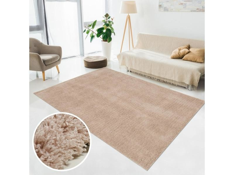 tapis shaggy poils long 80x150 cm rectangulaire sg chic marron chambre tufte main adapte au chauffage par le sol
