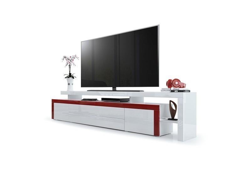 meuble tv laque bordeaux blanc 227 cm